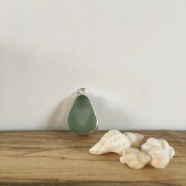 light teal grey heart-cut seaglass necklace - gyllyngvase