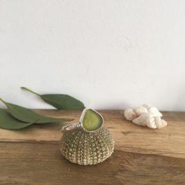 Olive Yellow Seaglass Ring - Porthtowan
