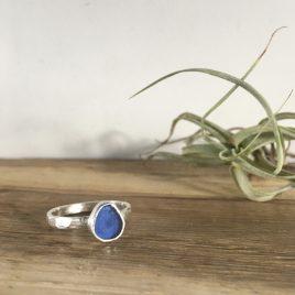 Cobalt Blue Seaglass Ring - St Ives - size N