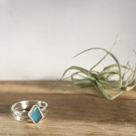 Electric Blue Seaglass Ring Stackers - Falmouth Bay