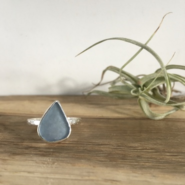 Ice Blue Seaglass RIng - Falmouth Bay - size Q 1/2