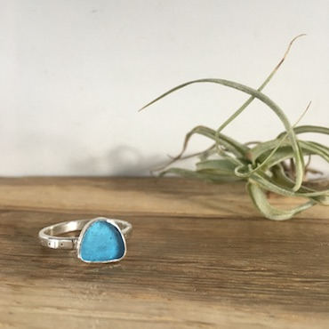 Sky Blue Seaglass Ring - Falmouth Bay - size P