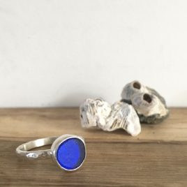 Cobalt Blue Seaglass Ring – Greenbank – Size O