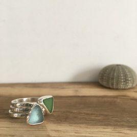 Green & Aqua Seaglass Stacking Rings Stacked